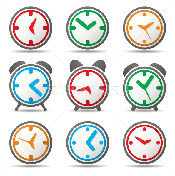 Foto d'archivio: Vettore · clock · simboli · design · felice · arancione