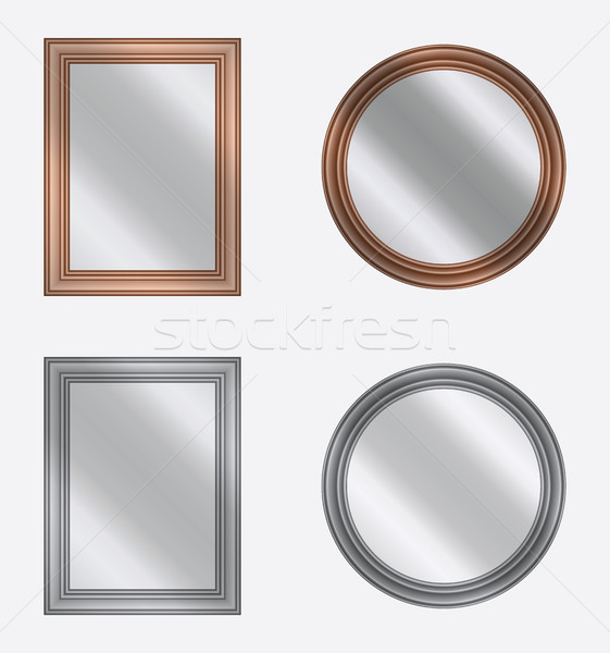 vector set of frames with mirrors on white background Stock photo © freesoulproduction
