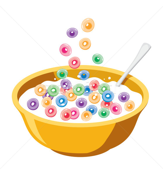 vector yellow bowl with cereals in milk Stock photo © freesoulproduction