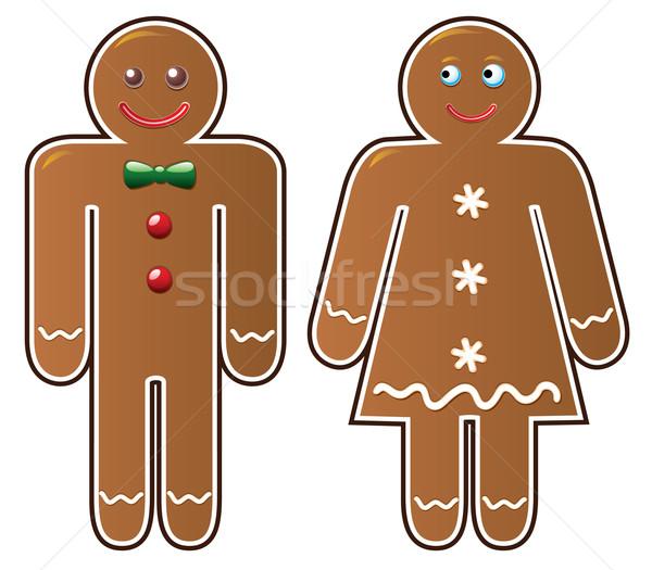 Сток-фото: вектора · пряничный · Cookies · два · женщину · лице