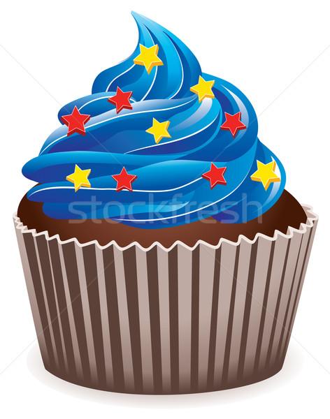 Stock fotó: Vektor · kék · minitorta · csillag · étel · otthon