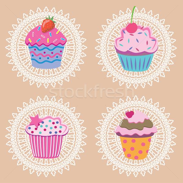 ストックフォト: ベクトル · レトロな · 食品 · 幸せ · ケーキ