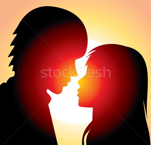 ベクトル 若い男 女性 シルエット 空 男 ストックフォト © freesoulproduction