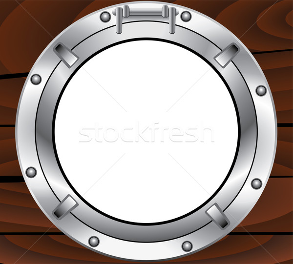 vector metal porthole and wooden wall Stock photo © freesoulproduction