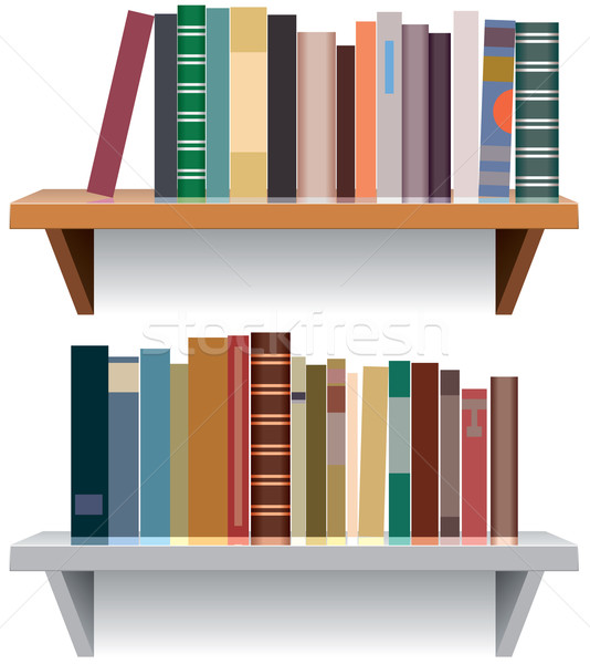 vector modern bookshelves Stock photo © freesoulproduction