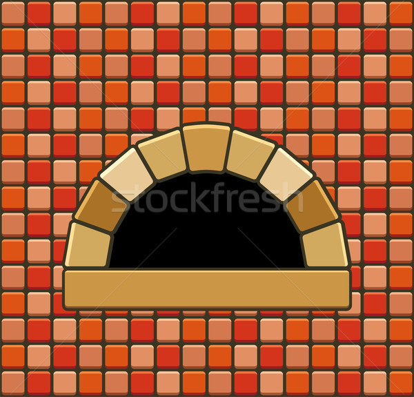 vector  brick oven with empty hearth Stock photo © freesoulproduction