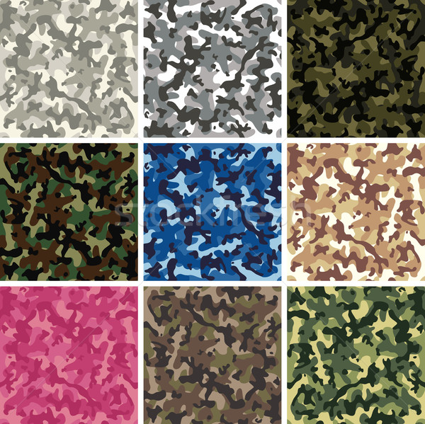 vector seamless background patterns of colorful camouflage desig Stock photo © freesoulproduction