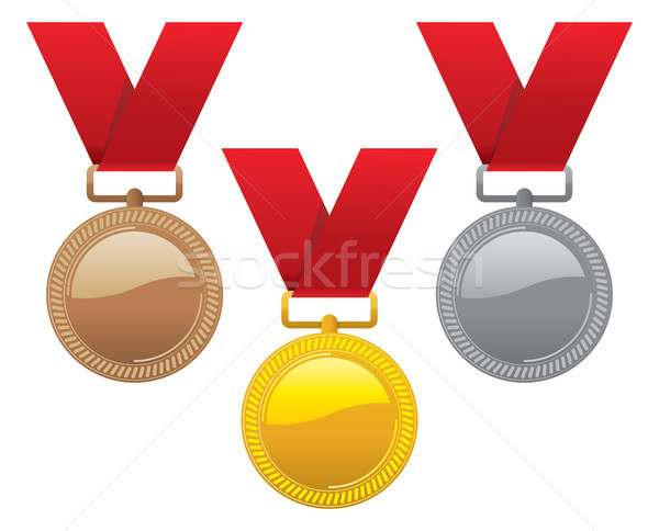 vector set of gold, silver and bronze medals  Stock photo © freesoulproduction