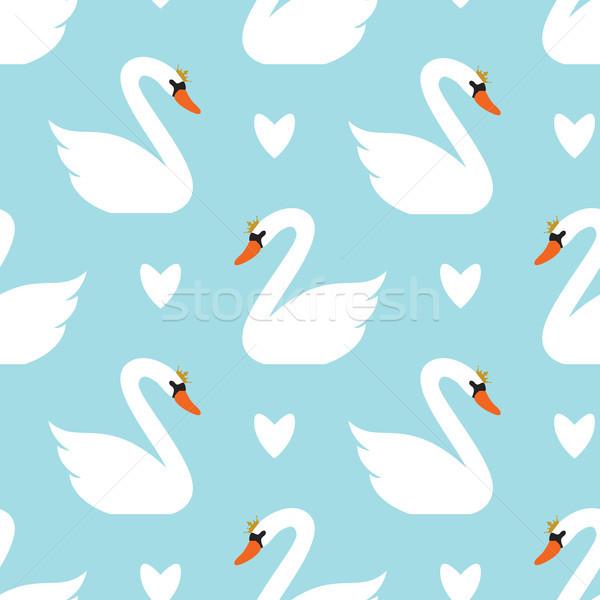вектора бесшовный лебедя шаблон белый синий Сток-фото © freesoulproduction