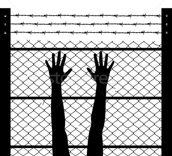 вектора поднятыми руками колючую проволоку тюрьмы граница черно белые Сток-фото © freesoulproduction