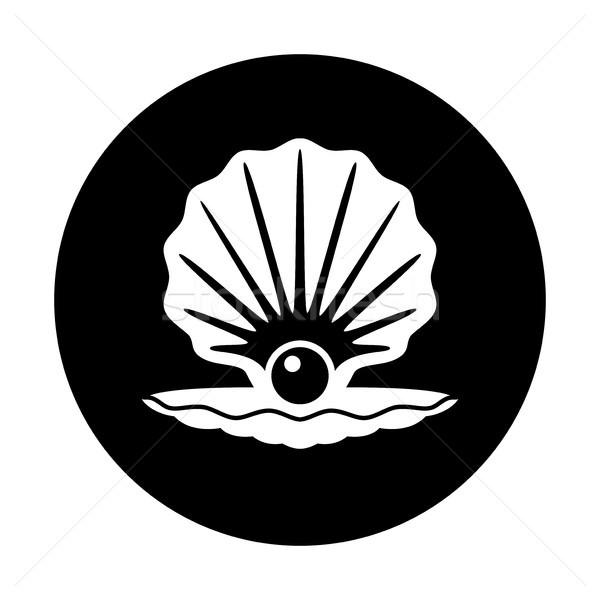 вектора Pearl оболочки черно белые икона моде Сток-фото © freesoulproduction