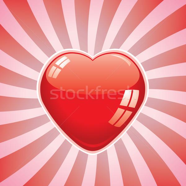 красный сердце ретро вектора медицинской свет Сток-фото © freesoulproduction