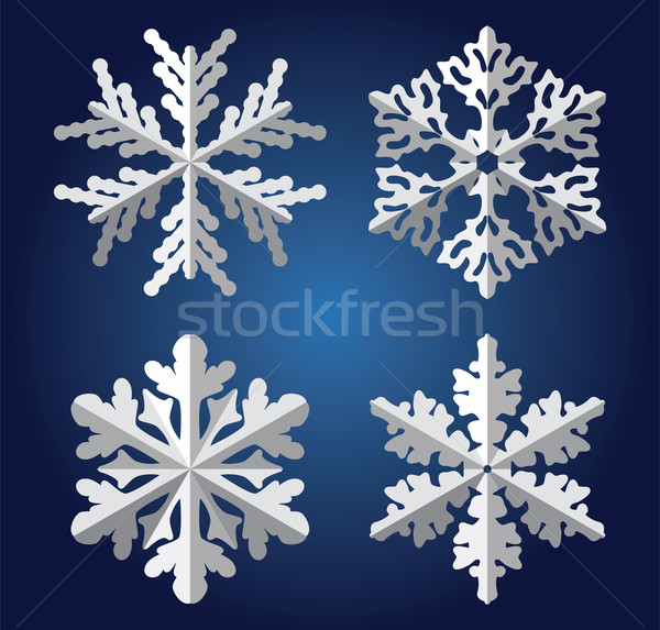 Origami flocons de neige vecteur nature design neige Photo stock © freesoulproduction