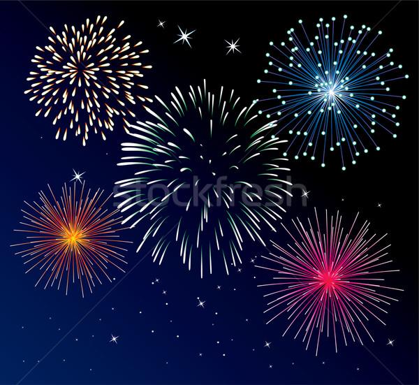 Stock fotó: Tűzijáték · vektor · négy · boldog · absztrakt · zöld