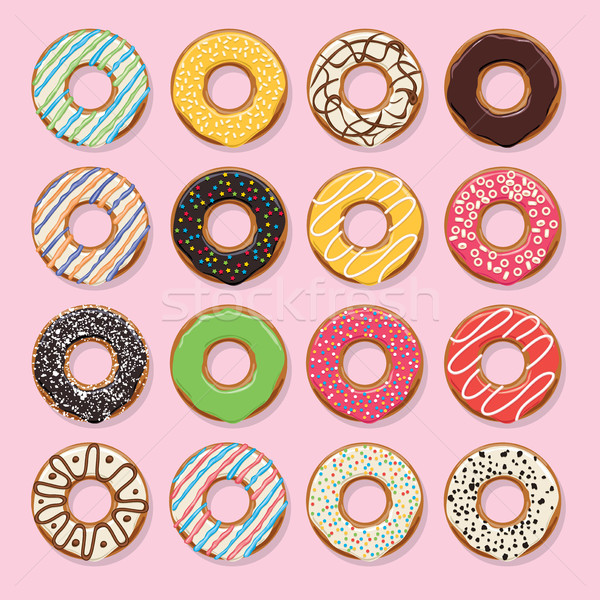 vector flat style icons of glazed colorful donuts Stock photo © freesoulproduction