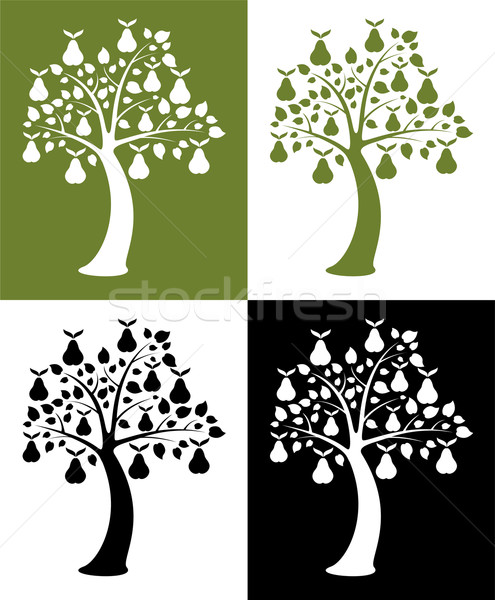 vector set of pear trees Stock photo © freesoulproduction