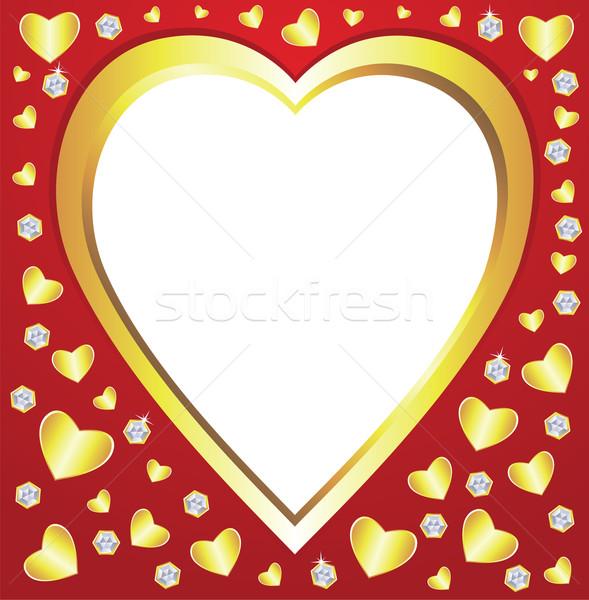 Stock fotó: Vektor · Valentin · nap · szívek · gyémántok · absztrakt · fény