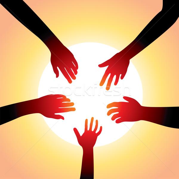 Stock fotó: Vektor · öt · kezek · körül · nap · kéz
