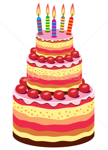 Vector Big Birthday Cake Vector Illustration C Dmitry Merkushin
