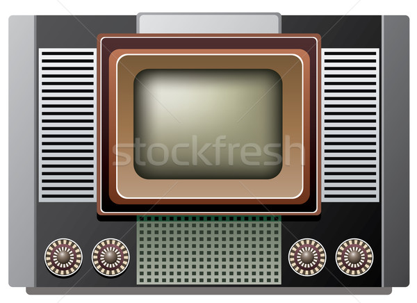 vector big retro tv set  Stock photo © freesoulproduction