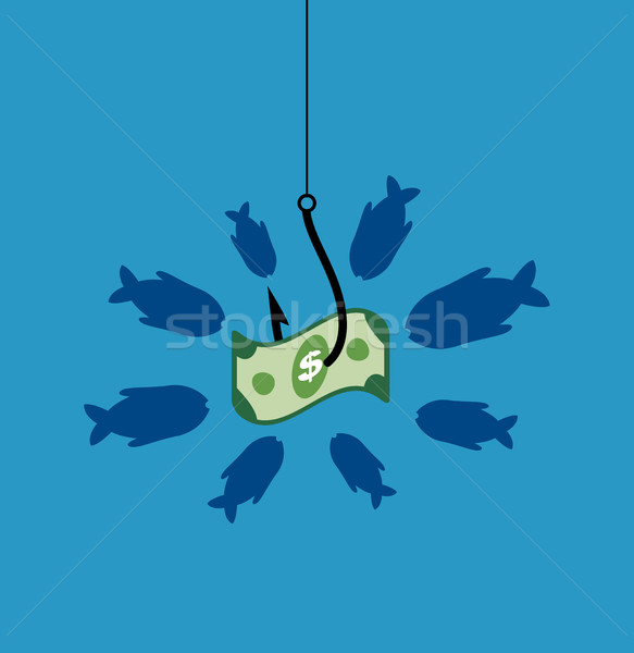 vector business symbol with hook, bait, hungry fishes and dollar Stock photo © freesoulproduction