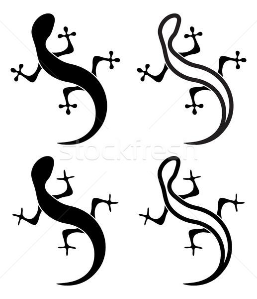 Vektör siyah beyaz siluetleri kertenkele simgeler geko Stok fotoğraf © freesoulproduction