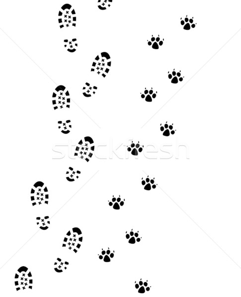foot prints of man and dog Stock photo © freesoulproduction