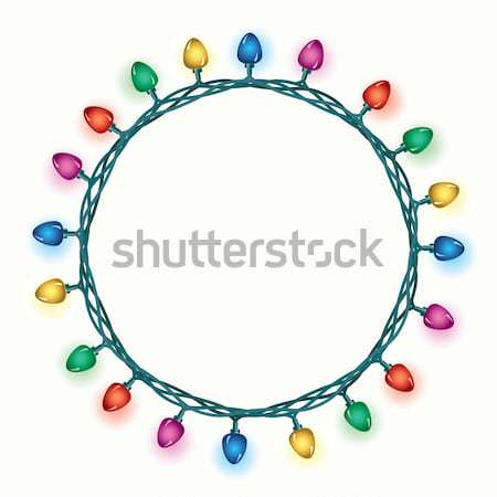 vector round border of christmas light lamps Stock photo © freesoulproduction