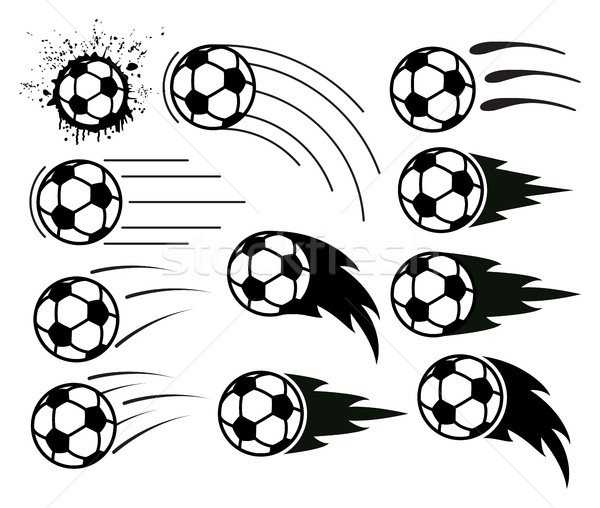 vector drawing of flying soccer and football balls Stock photo © freesoulproduction