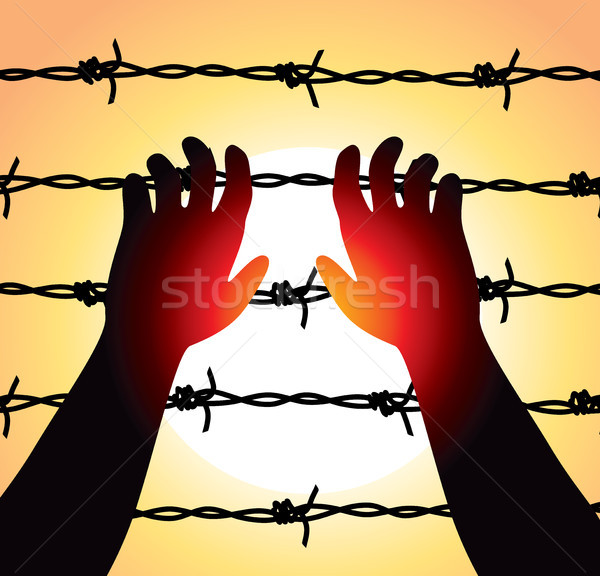 Wektora człowiek podniesionymi rękami drutu kolczastego więzienia granica Zdjęcia stock © freesoulproduction