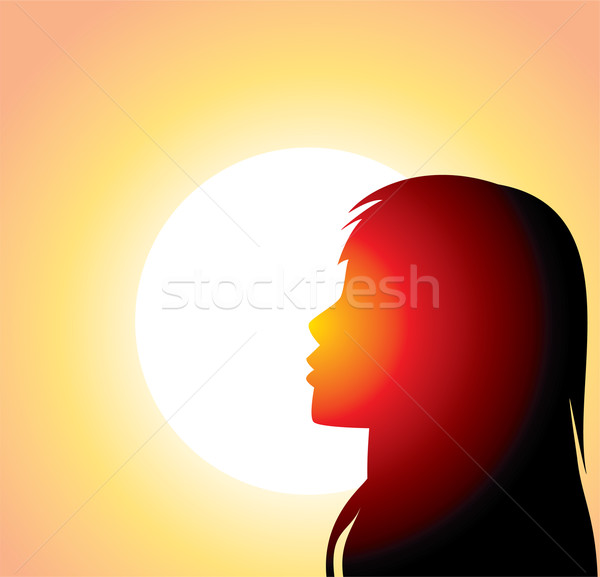 silhouette of girl's face Stock photo © freesoulproduction