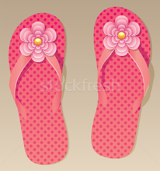 vector pair of flip flops with flowers  Stock photo © freesoulproduction