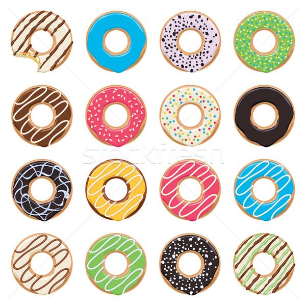 Stockfoto: Vector · iconen · kleurrijk · donuts · witte · ontwerp