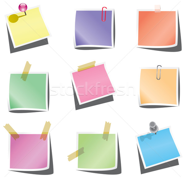 vector paper notes with push pin and paperclip Stock photo © freesoulproduction