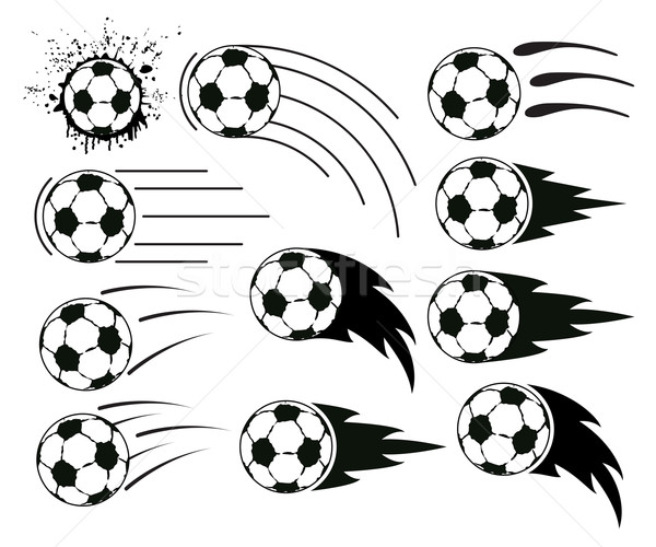 vector grunge  flying soccer and football balls Stock photo © freesoulproduction