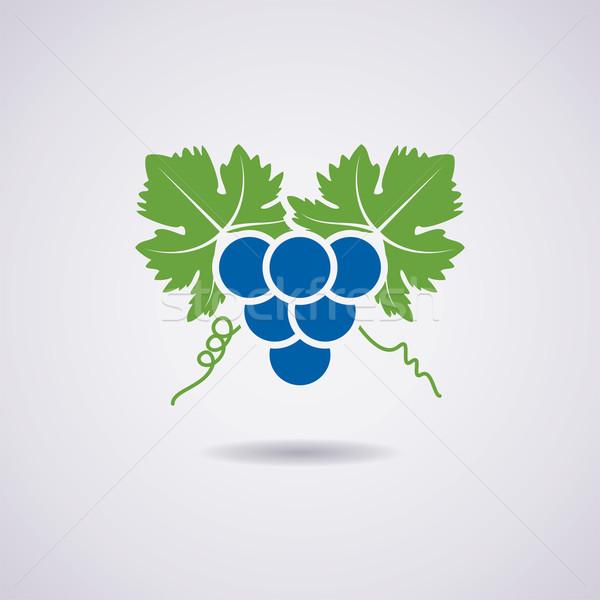 Vettore icona uve frutta blu autunno Foto d'archivio © freesoulproduction