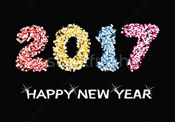 vector colorful background for happy new year 2017 celebration c Stock photo © freesoulproduction