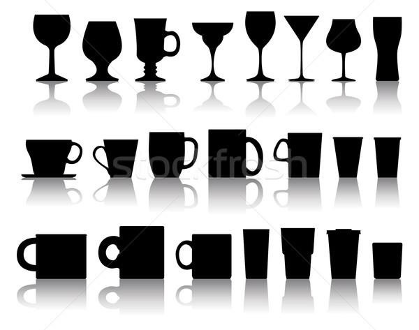 Stockfoto: Vector · ingesteld · wijnglazen · water · ontwerp