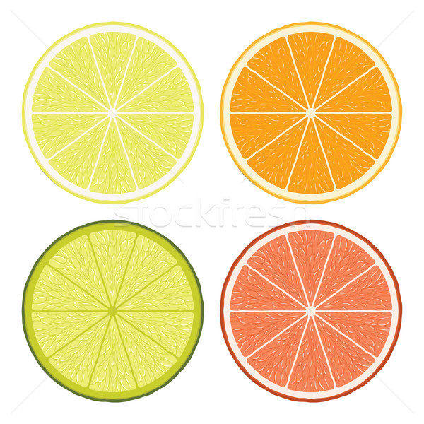 Vector cal limón pomelo naranja rebanadas Foto stock © freesoulproduction