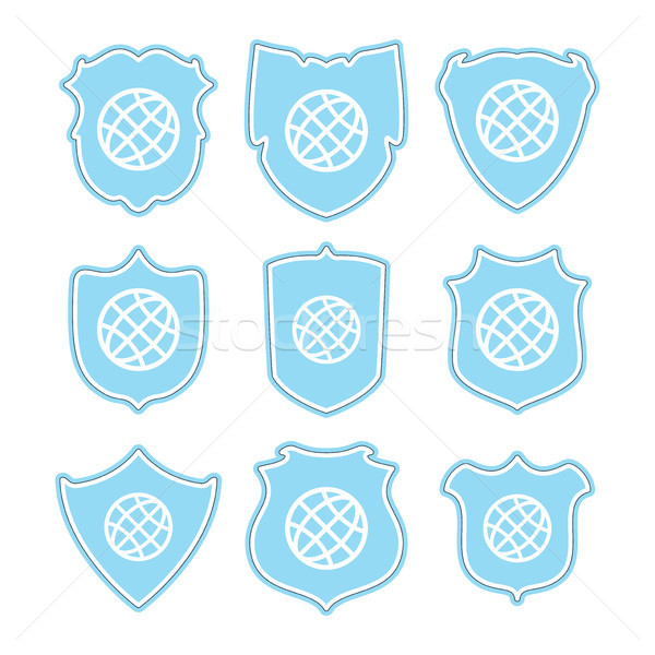 vector icons of earth globe and shield Stock photo © freesoulproduction