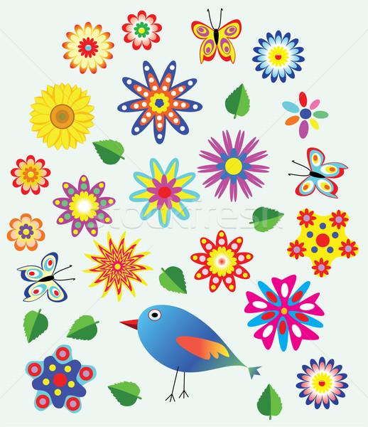 цветочный вектора весны бабочка природы птица Сток-фото © freesoulproduction