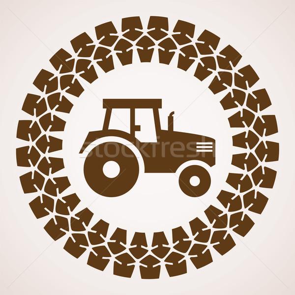 Vektör dizayn traktör lastik baskı simge Stok fotoğraf © freesoulproduction
