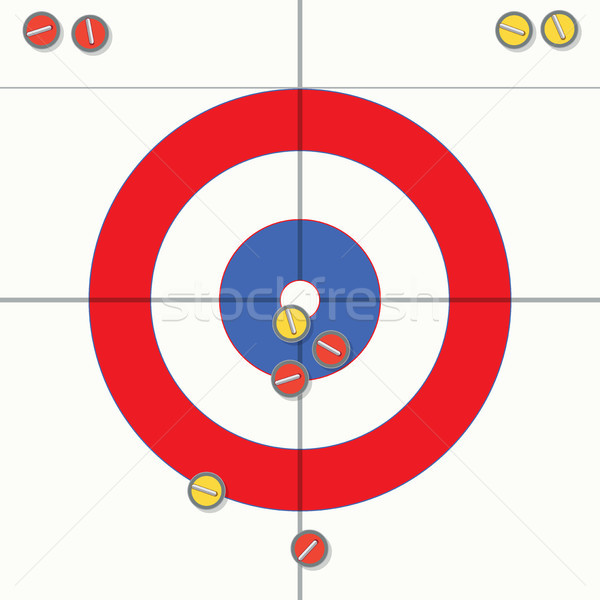 vector sport illustration of curling stones on ice Stock photo © freesoulproduction