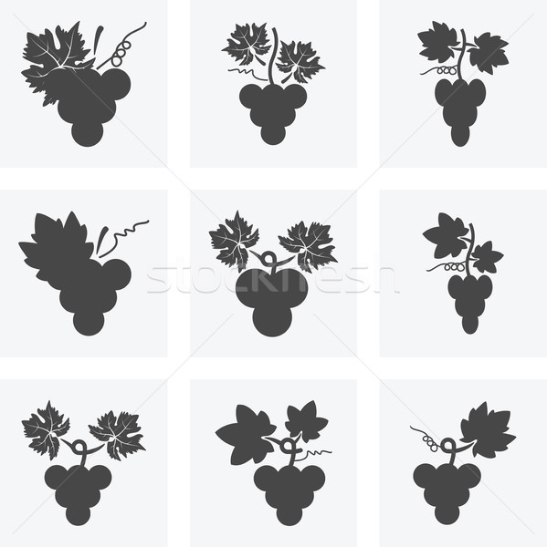 vector black and white icons of grapes Stock photo © freesoulproduction