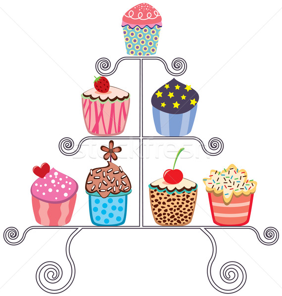 vector collection of various cupcakes on a stand Stock photo © freesoulproduction