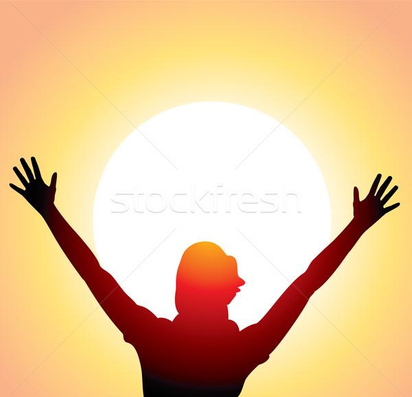 Stockfoto: Meisje · opgeheven · handen · vector · silhouet · haren · zonsopgang