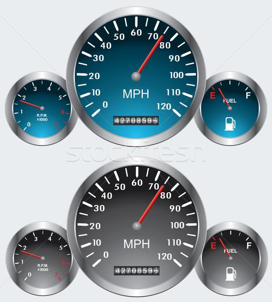 Vektör araba imzalamak mavi kırmızı hızlandırmak Stok fotoğraf © freesoulproduction