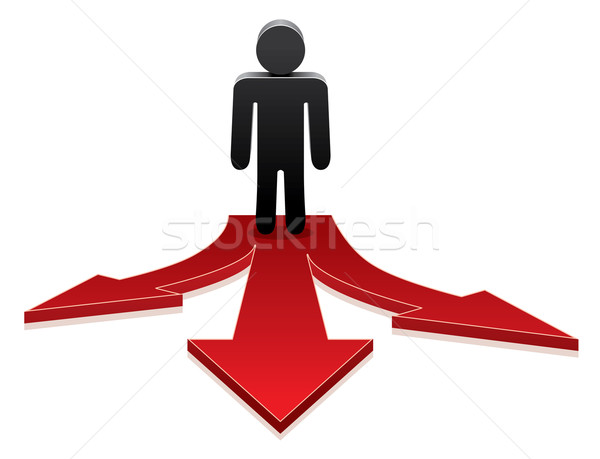 vector man making a choice on crossroads  Stock photo © freesoulproduction