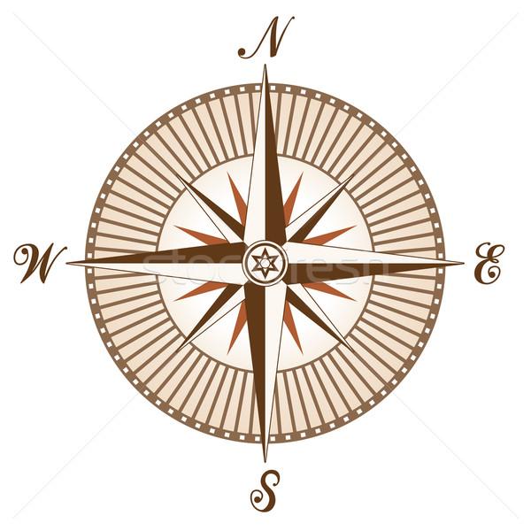Stockfoto: Vector · vintage · bruin · kompas · aarde · teken