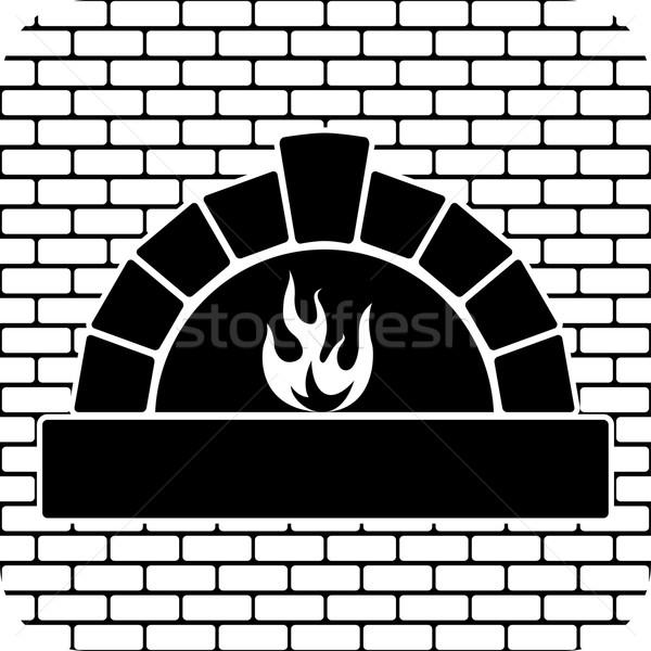 Wektora czarno białe piekarnik palenie ognia drewna Zdjęcia stock © freesoulproduction
